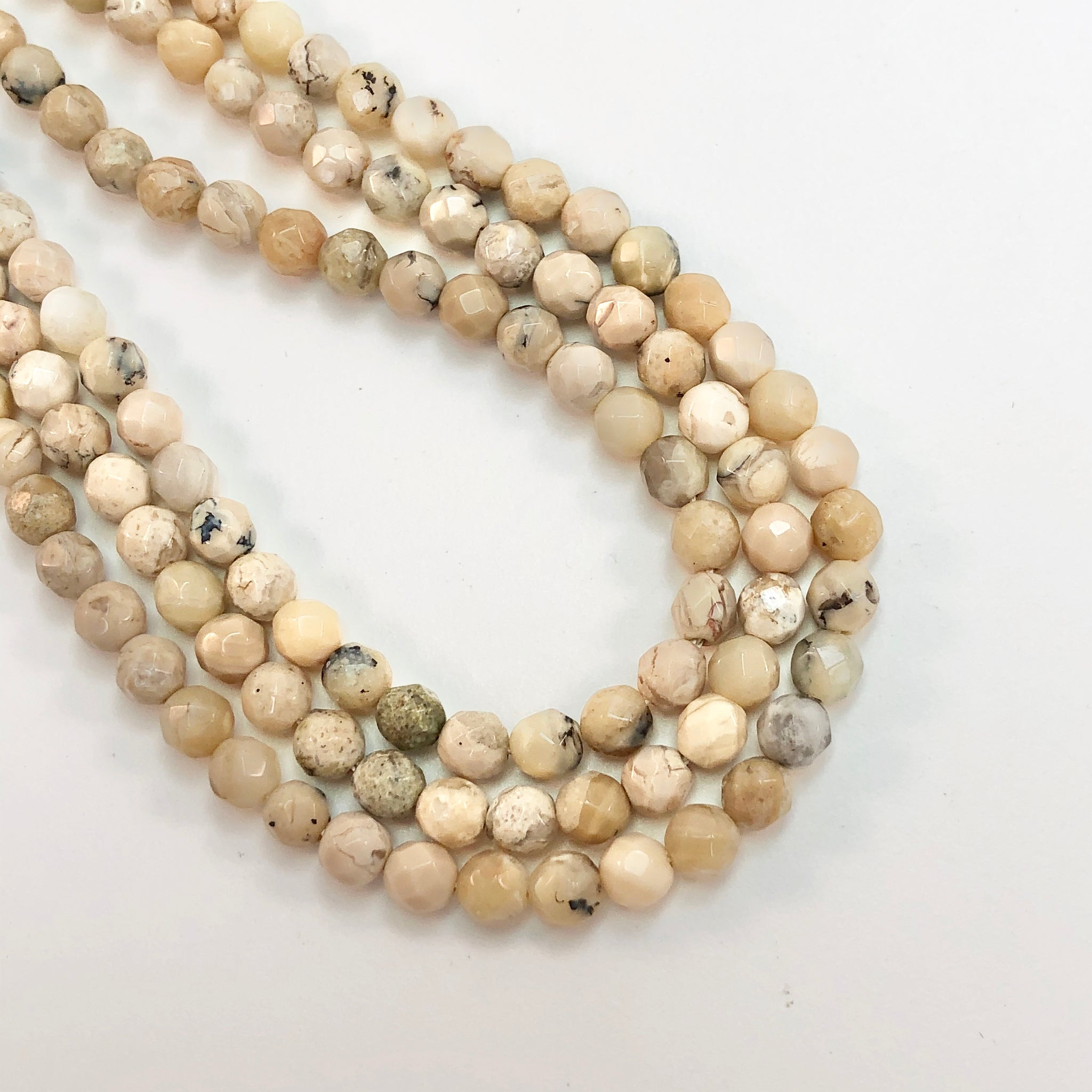 Opal - Natural Dendrite Opal - Round  Faceted 4mm Beads