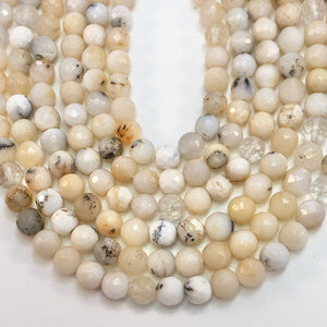 Opal - Natural Dendrite Opal - Round  Faceted 6mm Beads