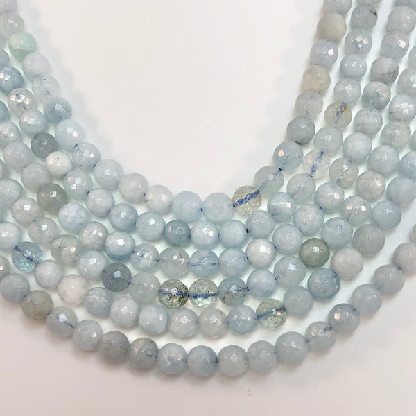 Aquamarine - Round Faceted 5mm Beads