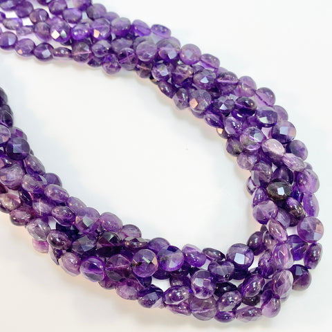 Amethyst - 8mm Coin, faceted
