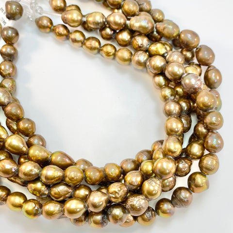 Golden Baroque Pearls - Large Hole