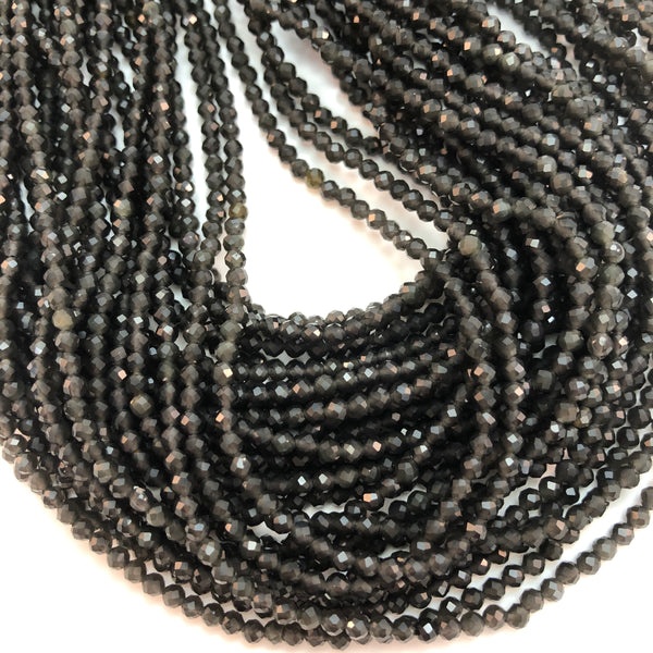 Black Obsidian Round Faceted 2mm beads