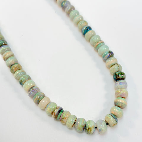 Opals - 6mm Cultured Smooth Rondell: 16 inch strand
