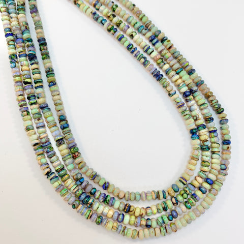 Opals - 4mm Cultured Smooth Rondell: 16 inch strand
