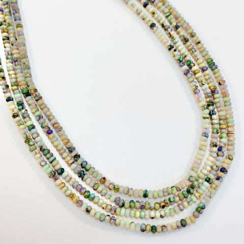 Opals - 3mm Cultured Smooth Rondell: 16 inch strand
