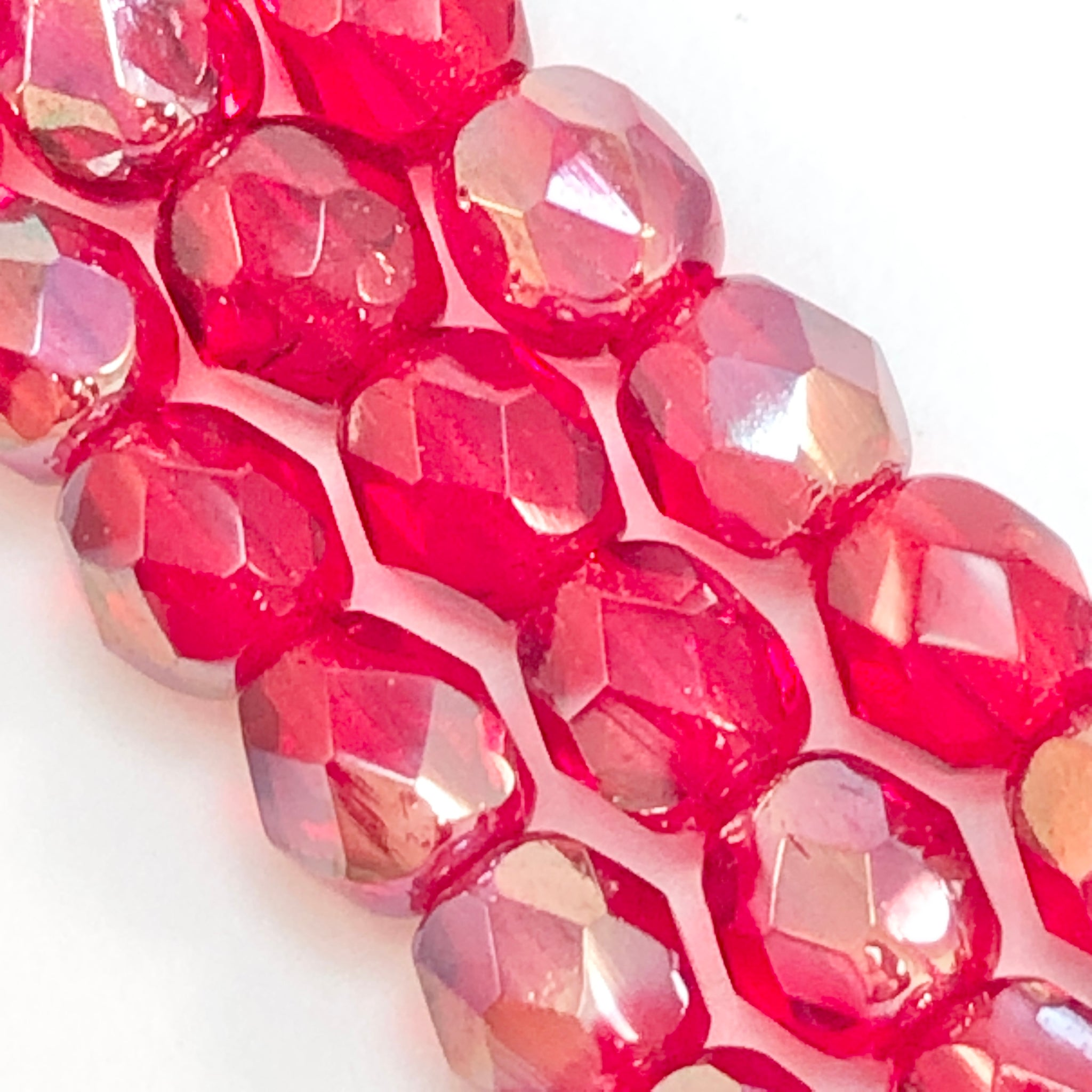 Ruby Celsian - 4mm Fire Polished Czech Glass
