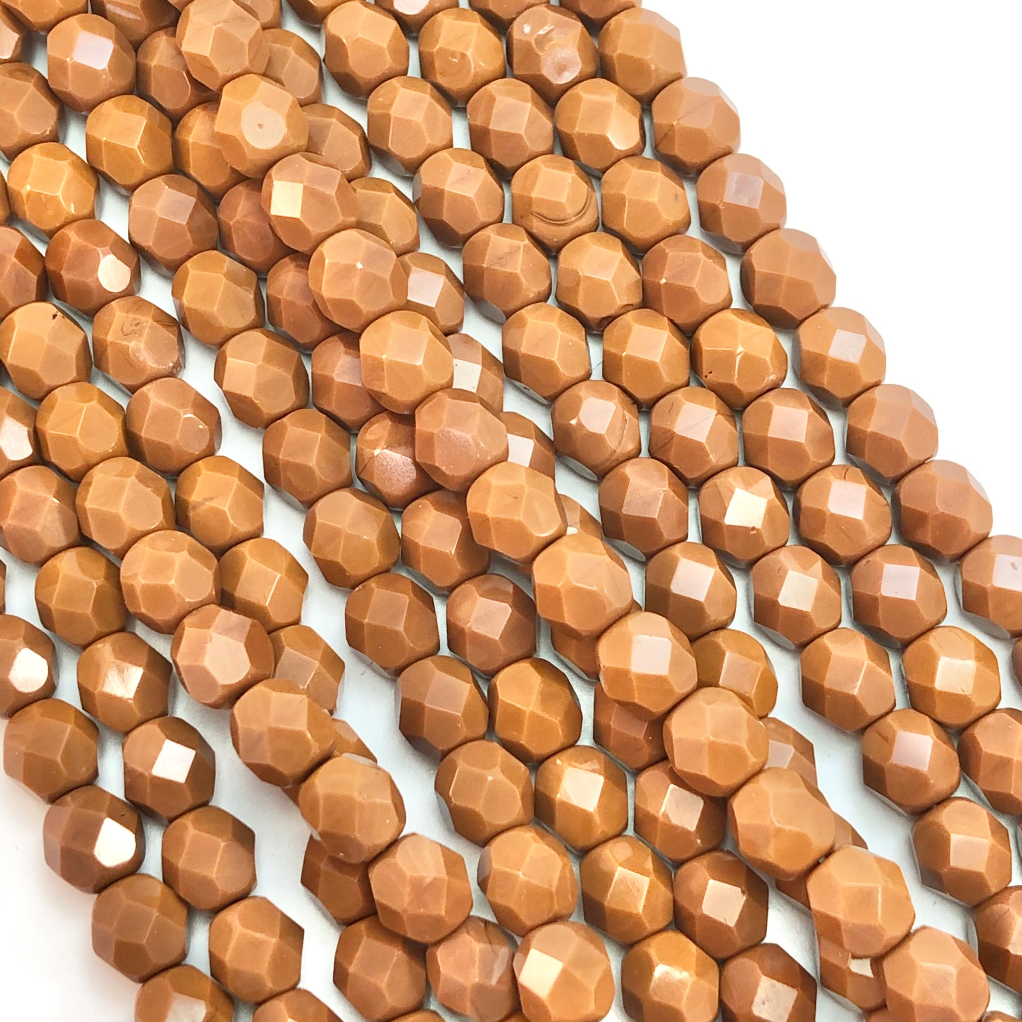 Umber- 6mm faceted Czech