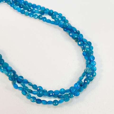 Apatite, dark - 4mm Coins, faceted