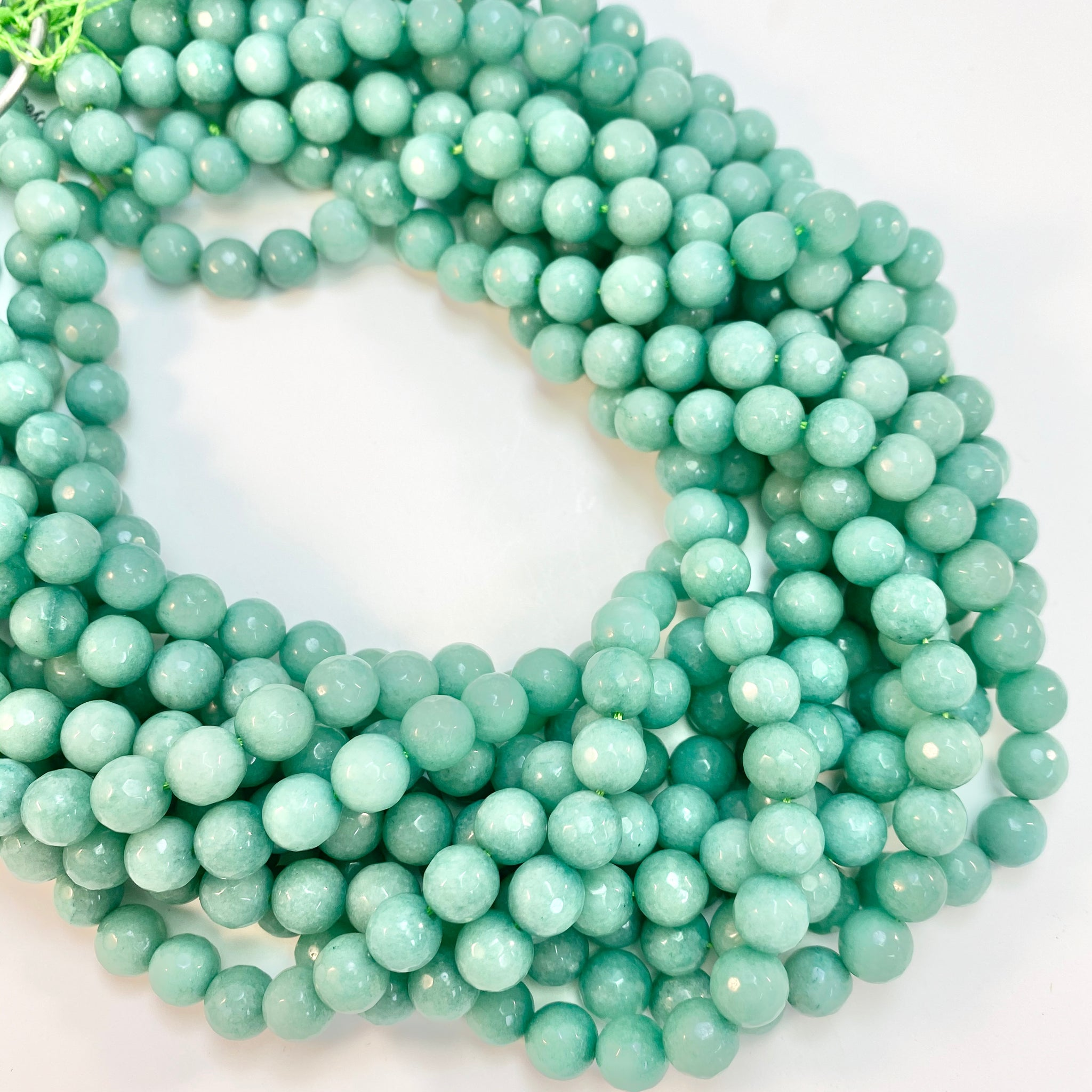 "Dyed Jade - ""Teal"": 8mm Round, faceted"