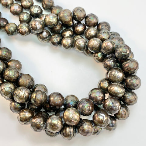 Faceted Pearls -Peacock Brown, 12mm
