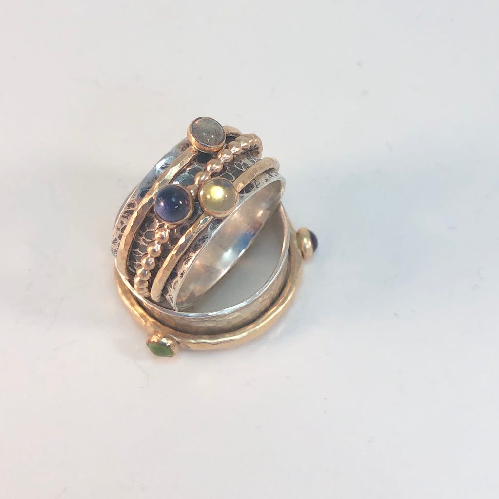 e8  Spinner Ring w/ Stones: Soldering: Saturday February 29, 2020 @ 12 - 4 pm