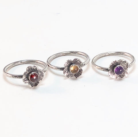 d6   Metalsmith Series: Gemstone Flower Rings: Friday August 23, 2019 @ 12 - 4 pm