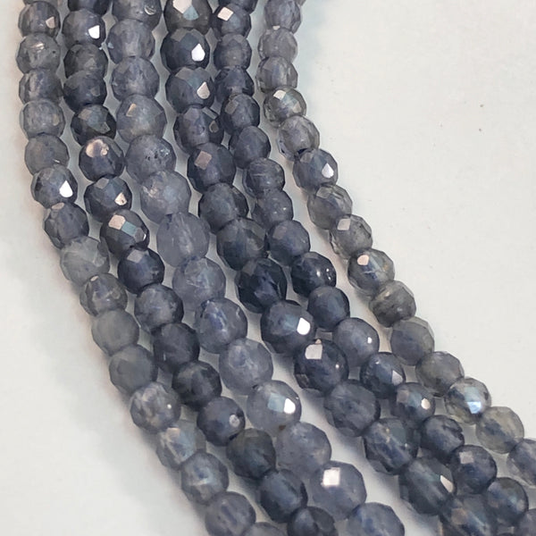 Iolite - Round Faceted 2.5 mm strands
