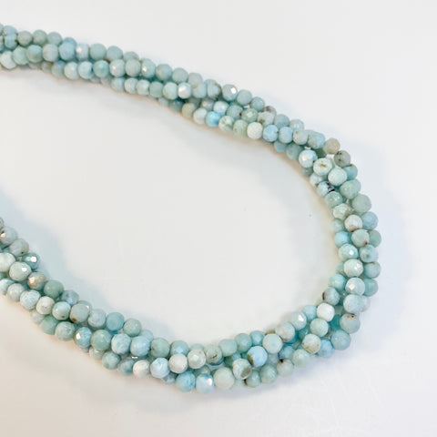 Larimar - 4-5mm round, faceted