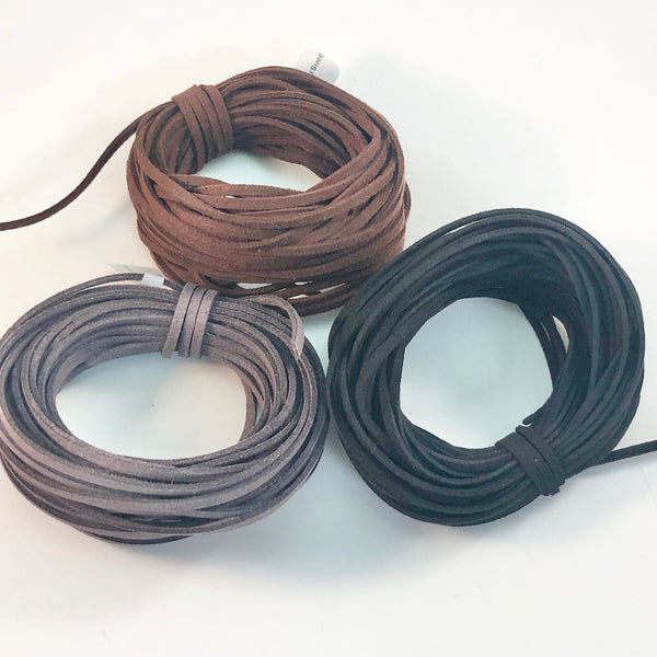 Ultrasuede Cord 3mm flat bundle - assorted colors