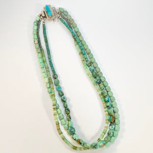 """Green Goddess"": Turquoise + Chrysoprase Multi-strand Necklace"