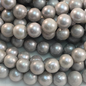 Pearls - Large Hole, 12mm Round, Silver