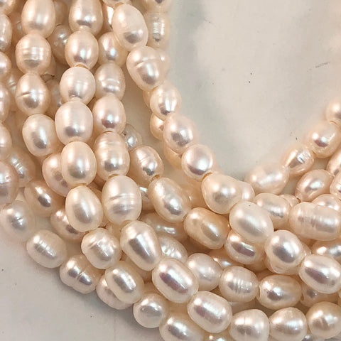 Pearls - Large Hole, Rice, White/cream