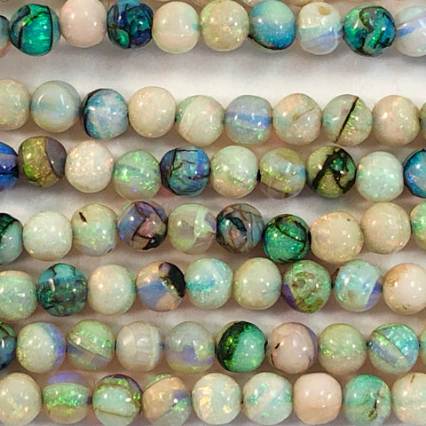 "Opals - Cultured Round smooth 3mm - 8"" strand"