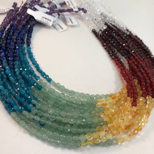 Chakra/Rainbow 3.5-4mm Faceted Gemstone Coins - 1 strand