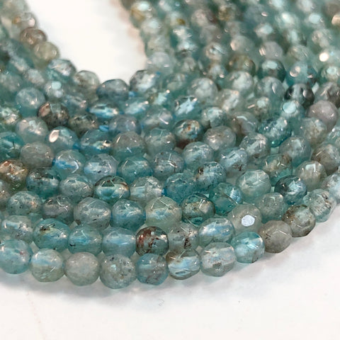 Apatite Round, Faceted 3mm - 16 inch strand
