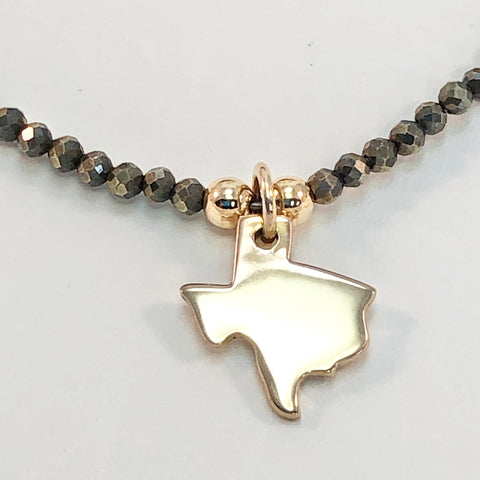 Tiny Texas Necklace - Micro-faceted Pyrite