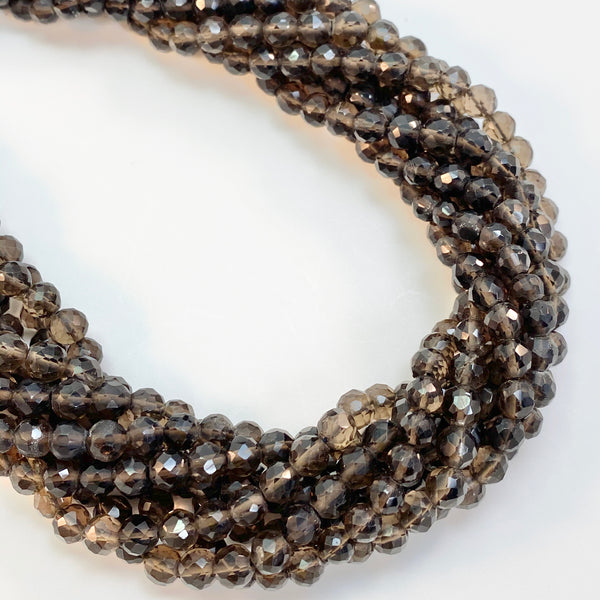 Smoky Quartz - 4-5mm round, faceted