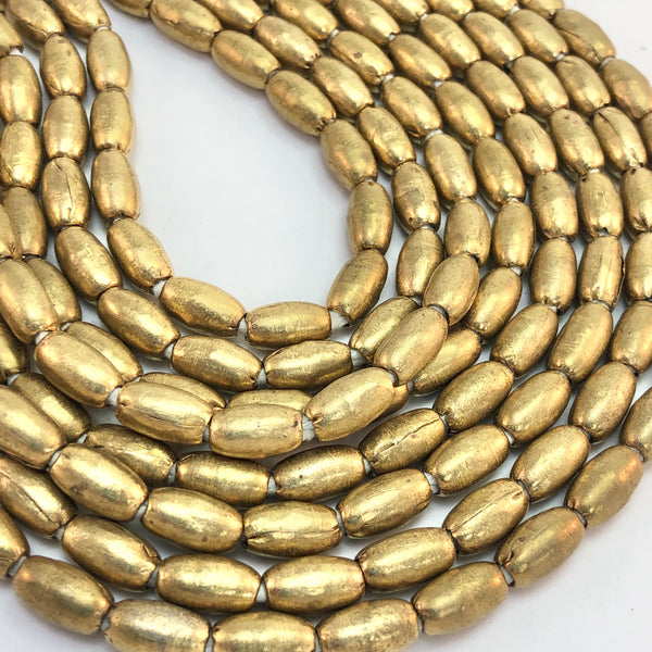 Ethopian handmade brass rice-shaped spacer beads