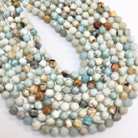 Amazonite - Diamond cut, faceted 8mm
