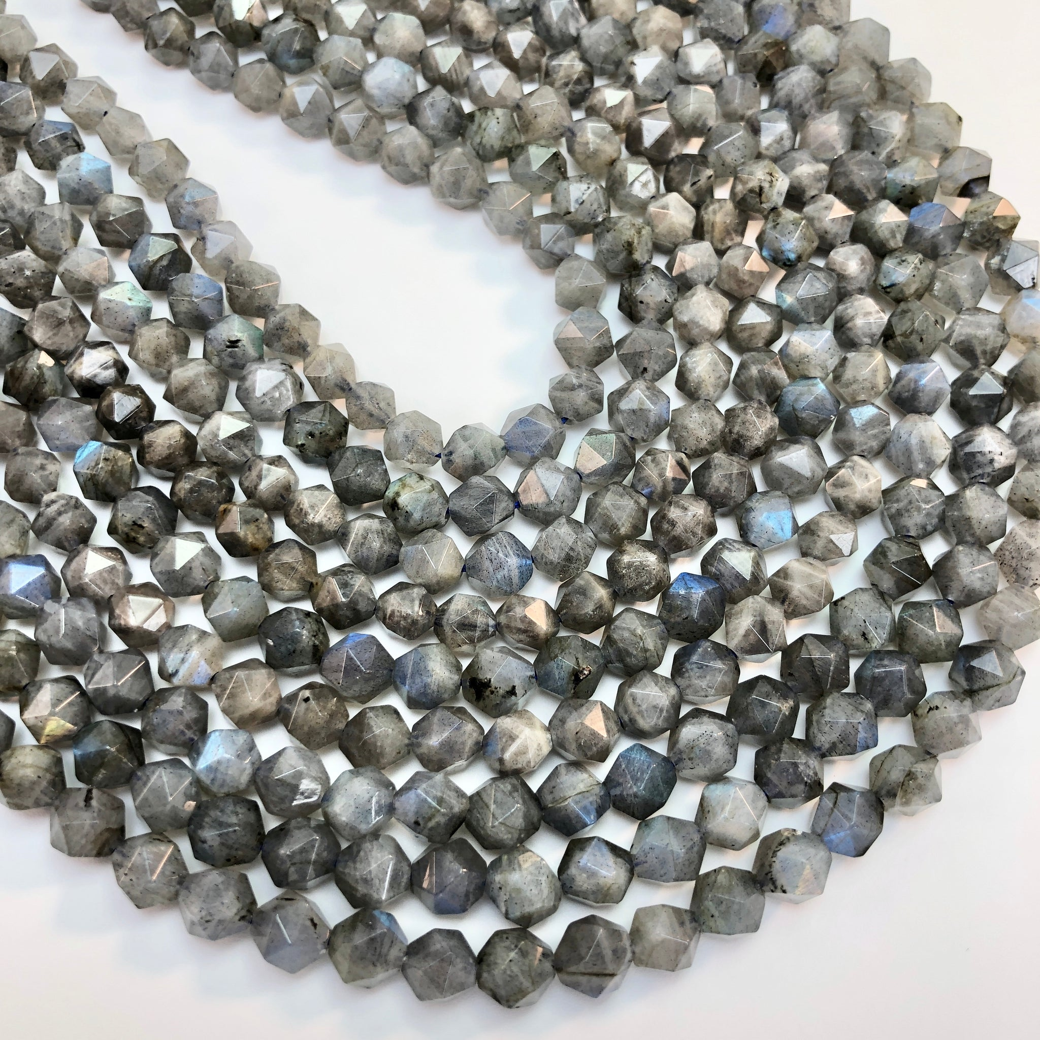 Labradorite - 7-8mm, Diamond cut, faceted