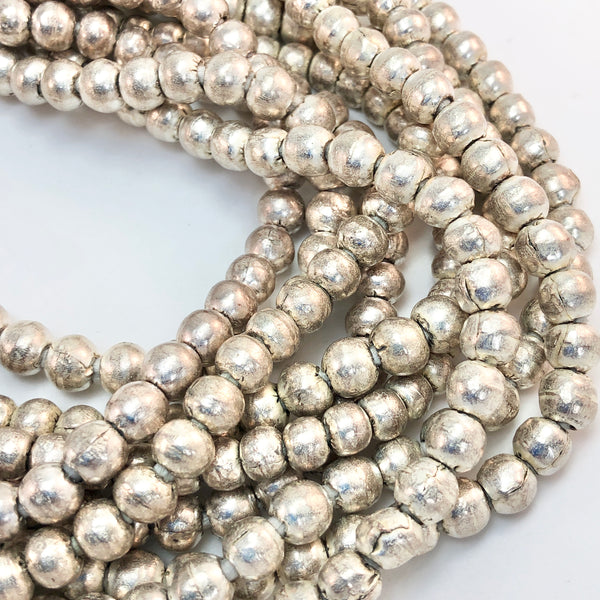 Ethopian handmade silver plated spacer beads