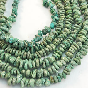 "Turquoise - Emerald Valley Chips/Tiny Nuggets: 8"" strands"