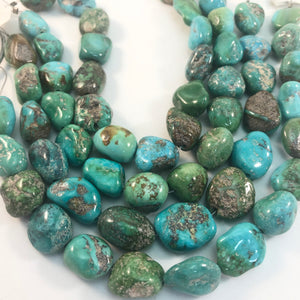"Turquoise - Turquoise Mountain Large Nuggets: 8"" strands"