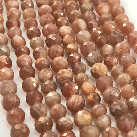 Sunstone - 5mm or 6mm round faceted strands