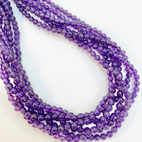 Amethyst - 4mm Round, smooth