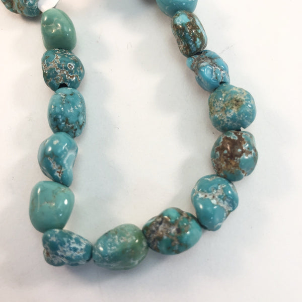 "Turquoise - Sierra Nevada Large-Hole Nuggets: 8"" strands"