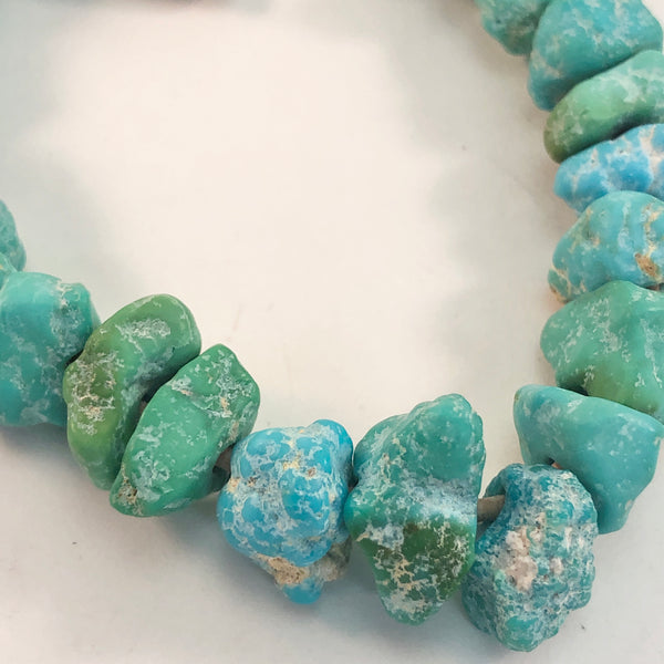"Turquoise - Turquoise Mountain Large-Hole Matte Nuggets: 8"" strand"