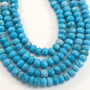 "Turquoise - Faceted 4x6mm Roundells: 8"" strands"