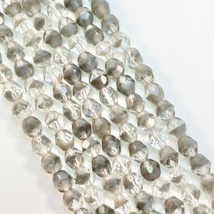 Crystal Gray - 6mm faceted Czech