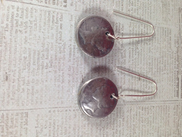Mercury's Image Button Coin Earrings on Long Sterling Ear Wires