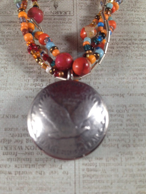 Bird Button Coin Locket with Jasper, Silver & Seed Bead Multistrand Necklace