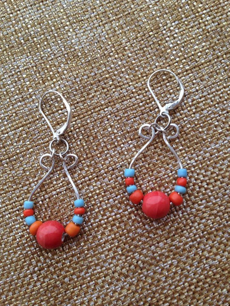 Southwest Color Hammered Sterling Earrings
