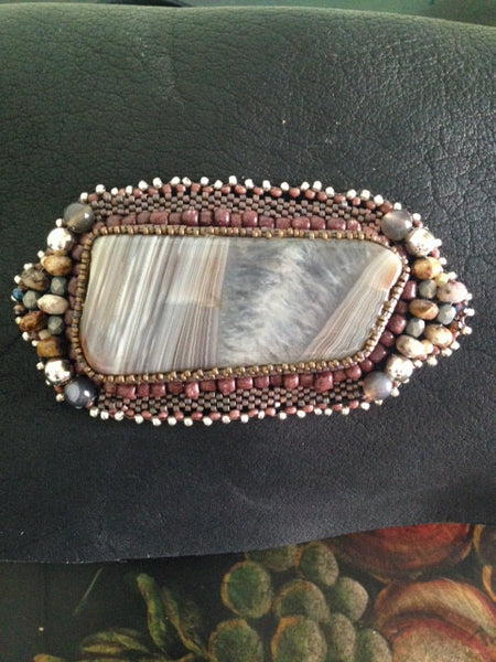 Black Buffalo Leather Cross-Body Purse with Taupe and White-Toned Prairie Agate Hand-Beaded Medallion