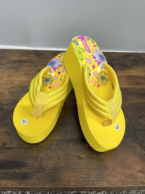 Maisie Wedge Flip Flop Yellow - Susie's Boutique
