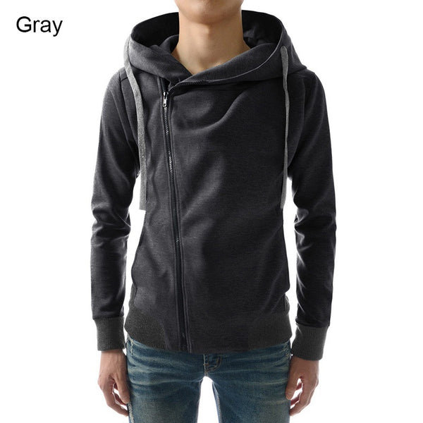 Fashion Men Hoodies Casual Oblique Zipper Brand Hoodie Mens Hooded Jackets Men Sweatshirt