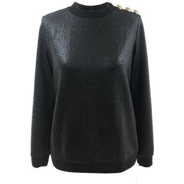 Sweater glans relief zwart