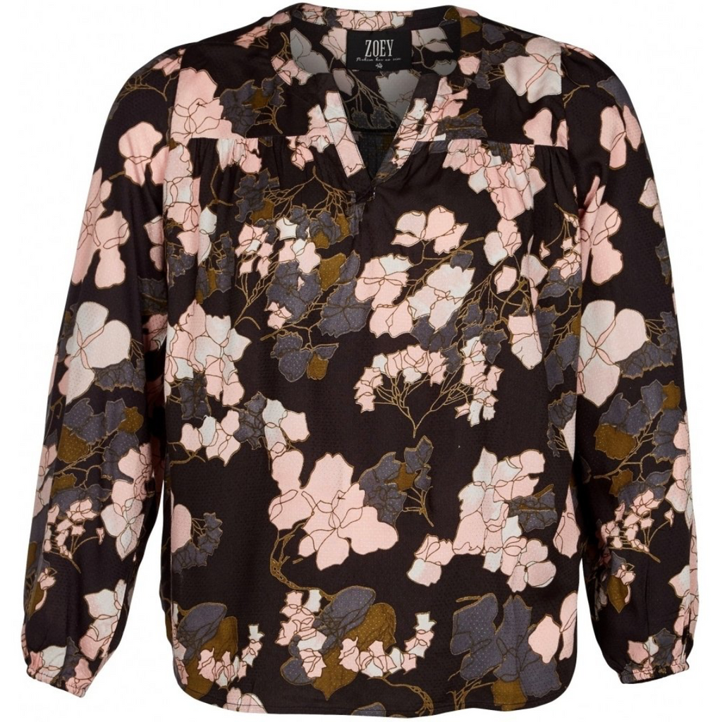 Shirt pink flower zwart