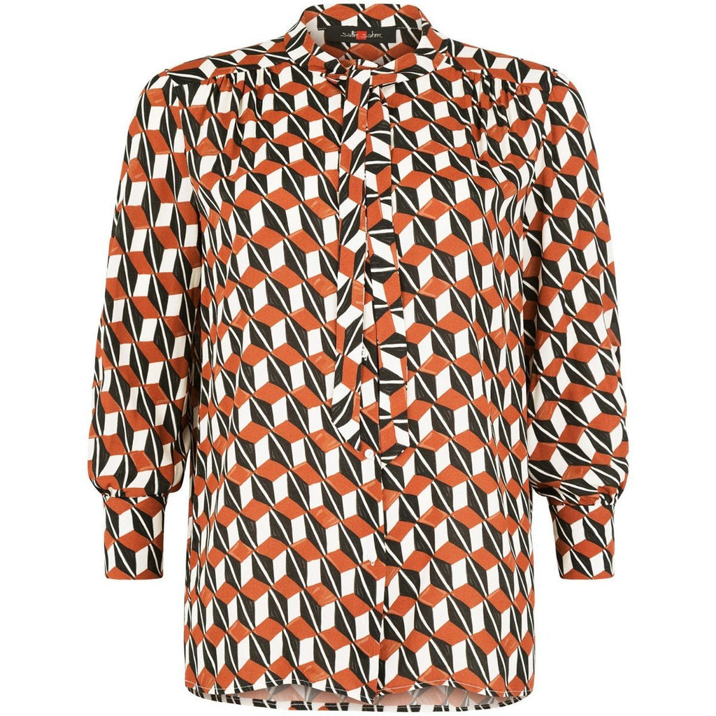 Blouse knopen print roest