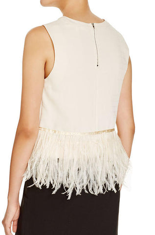 Endless Rose - Sleeveless Feather Top in Nude - Cimiche
