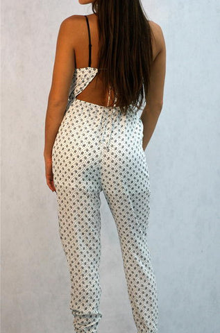 Hommage -  Jumpsuit in White with Mini Rose Print - Cimiche